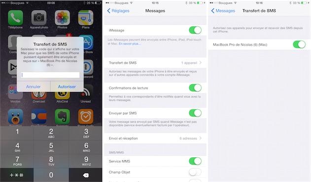 envoi bluetooth iphone