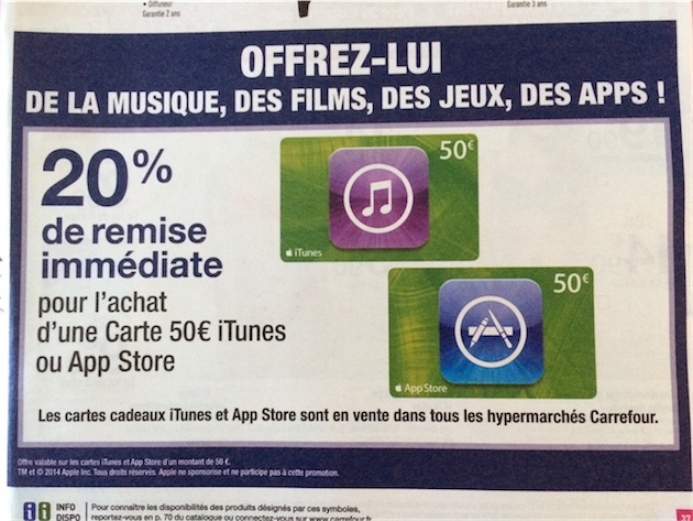 promo sur des cartes itunes chez carrefour et la fnac igeneration. Black Bedroom Furniture Sets. Home Design Ideas