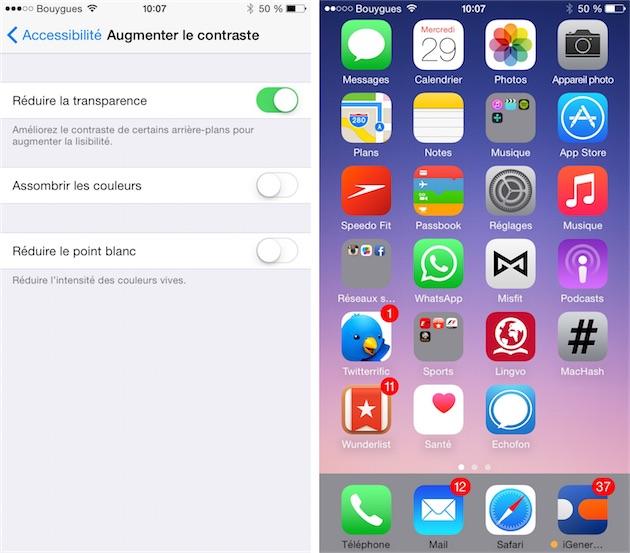 Si vous réduisez la transparence sous iOS, choisissez un fond d'écran adapté (un fond très sombre de préférence)