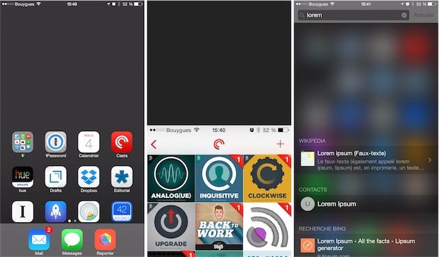 La barre de statut ne descend pas sur l'écran d'accueil : impossible alors d'ouvrir le Centre de notifications ou de répondre à un message sans utiliser l'autre main.
