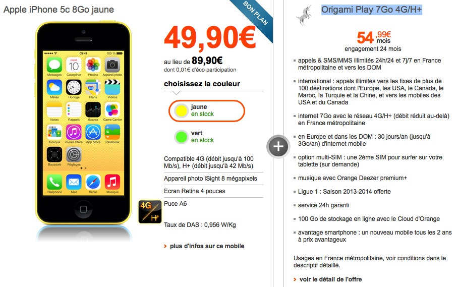 Coupon reduction iphone 5c