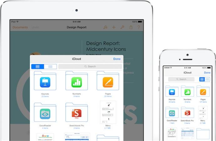 L'UIDocumentPicker sur iPad et iPhone. D'autres services de stockage peuvent se déclarer comme fournisseurs de document : on peut alors passer d'iCloud Drive à ces services à l'aide d'un bouton qui apparaîtra dans le coin supérieur gauche du picker. Notez par ailleurs que les appareils iOS 8 gèrent les tags introduits dans OS X Mavericks : Apple ne semble pas avoir prévu de mécanisme pour les modifier sur iPhone ou iPad, mais pourrait très bien ajouter cette fonction dans le futur.