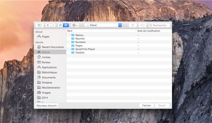 iCloud Drive sur OS X. On peut ajouter des dossiers à côté des dossiers des apps, sans limite de profondeur. Les dossiers des apps, cependant, sont limités à deux niveaux de profondeur.