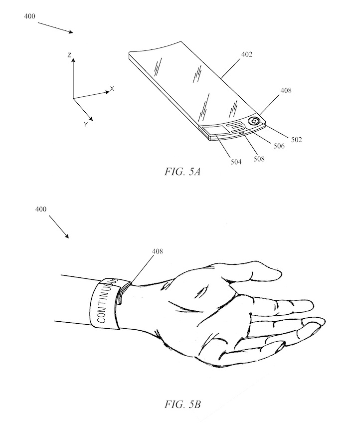 Une illustration de la demande de brevet d'Apple. La firme de Cupertino s'intéressait à l'époque à un écran flexible qui s'enroule autour du poignet comme une montre « slap ». L'électronique et la batterie seraient regroupées à la base de l'écran.