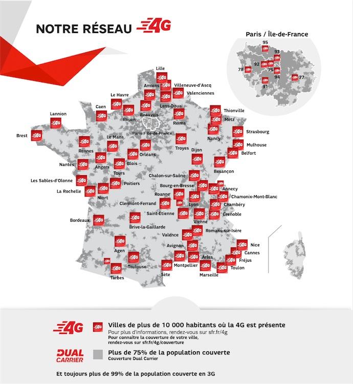 SFR communique sur le nombre de villes de plus de 10000 habitants couvertes, plutôt que sur une partie de la population ou du territoire. Et continue à promouvoir la 3G H+ comme alternative à la 4G LTE.