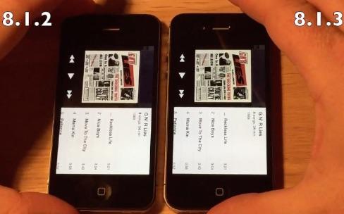 iPhone 4s : comparaison de vitesse entre iOS 8.1.2 et 8.1.3