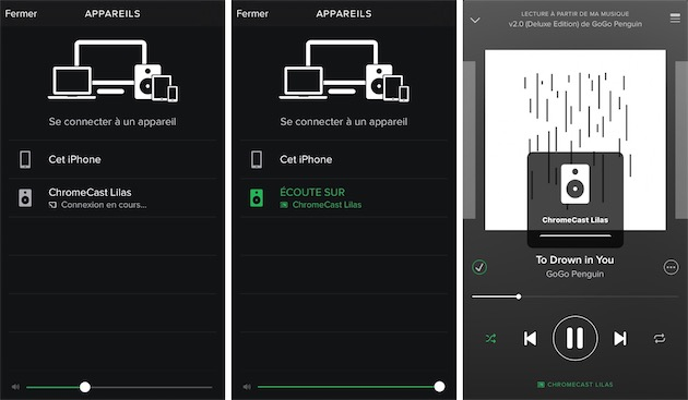 Ici dans Spotify, le Chromecast Audio est présenté comme n'importe quel autre appareil dans les options de lecture. La connexion est instantanée, et le volume peut ensuite être contrôlé avec les boutons de l'iPhone.