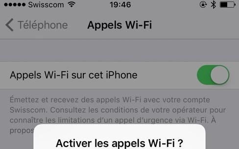 Les Appels Wi-Fi activés en Suisse