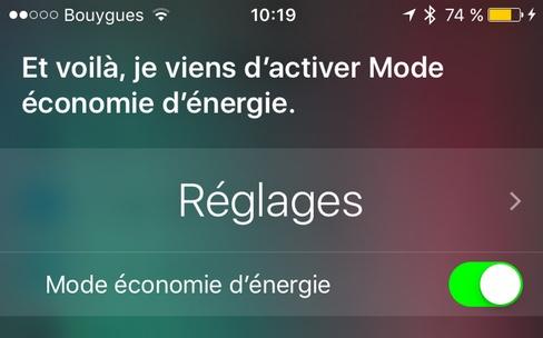 Activez le mode économie d'énergie avec Siri