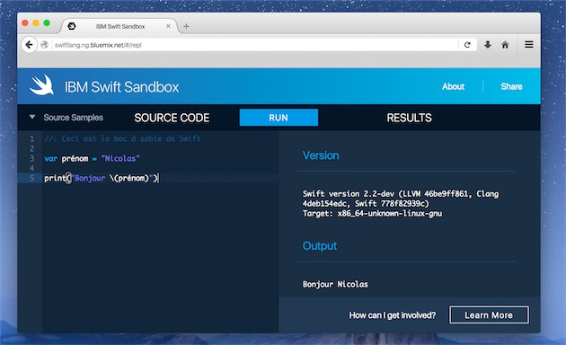 IBM propose déjà une fonction similaire au « Playground » de Xcode, mais dans un navigateur. Un projet impossible sans l'ouverture de Swift à Linux.