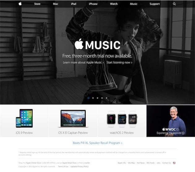 Apple Music sur le site d'Apple, ici le 30 juin 2015. L'onglet «Music»remplace l'onglet «iPod», et le système de carrousel fait son retour, semble-t-il définitif.