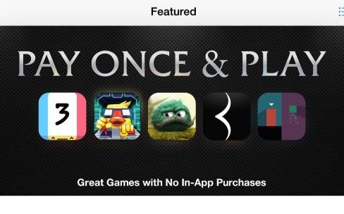L'App Store met en avant les jeux qu'on ne paye qu'une fois