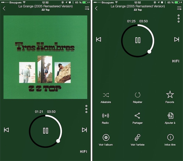 L'interface du lecteur sur iPhone, avec la mention «HIFI» qui indique une source lossless. Les boutons supplémentaires permettent de créer une radio, d'ajouter le morceau à une liste de lecture ou encore d'afficher des informations complémentaires.
