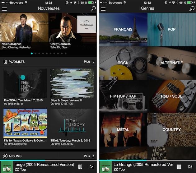 L'écran d'accueil fait la part belle aux listes et sélections, mais propose aussi des albums. Tidal offre par ailleurs d'autres modes de navigation, plus classiques.