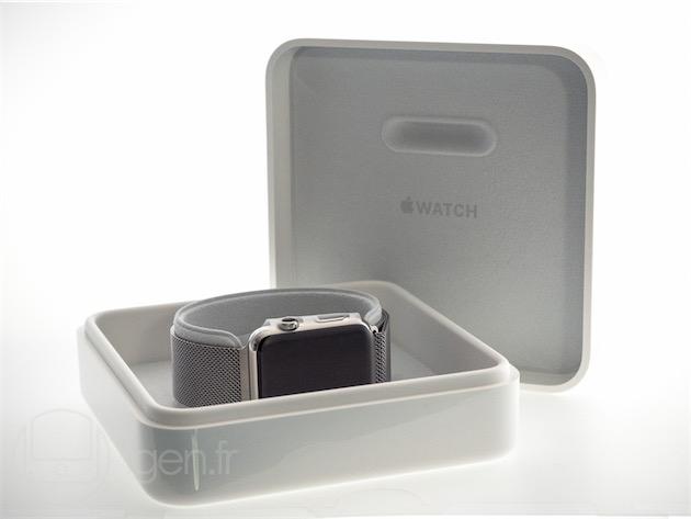 La boîte, un peu plus complexe, de l'Apple Watch.
