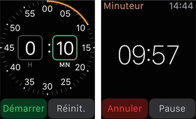 À gauche, réglage du minuteur avec la couronne digitale (utilisez Force Touch pour activer le mode 24 h) et minuteur en cours à droite).