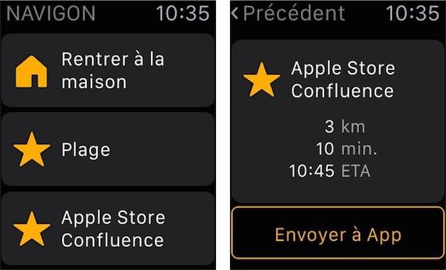 840256225b9 Navigon sur l Apple Watch   une liste de favoris et le temps nécessaire  pour s y rendre. Ensuite
