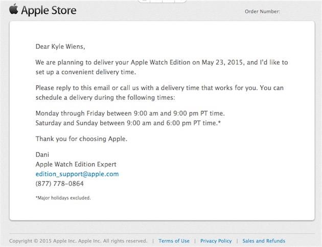 La confirmation d'expédition reçue par Kyle Wiens. Le patron d'iFixit comptait démonter son Apple Watch Edition…mais s'est finalement dégonflé. Il la retournera à Apple et se fera rembourser.