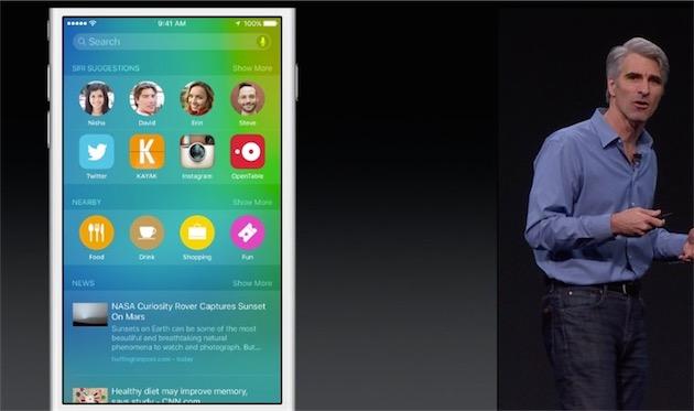 Spotlight propose des amis que vous pourriez vouloir contacter et des apps que vous pourriez vouloir lancer, en fonction du jour et de l'heure, selon vos habitudes. (Mon Spotlight risque d'être d'une monotonie rare.)