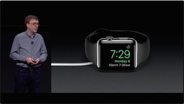 Autre nouveauté, un mode «réveil », qui permet d'utiliser l'Apple Watch comme…réveil lorsqu'elle charge la nuit. Le matin, les boutons agissent comme ceux d'un vieux réveil : snooze pour l'un, extinction pour l'autre, une magnifique leçon de skeuomorphisme à ceux qui n'ont toujours pas compris le sens réel du terme.