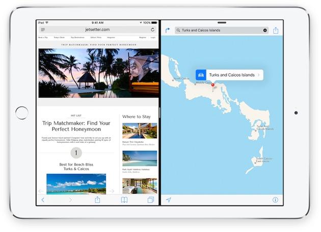 SplitView permet d'afficher deux apps côte à côte, une fonction cette fois réservée à l'iPad Air 2.