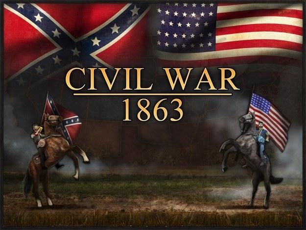 Civil War: 1863, l'un des jeux retirés de l'App Store. Au fond à gauche, le Dixie flag, utilisé par l'armée du général Lee pendant la Guerre de Sécession.