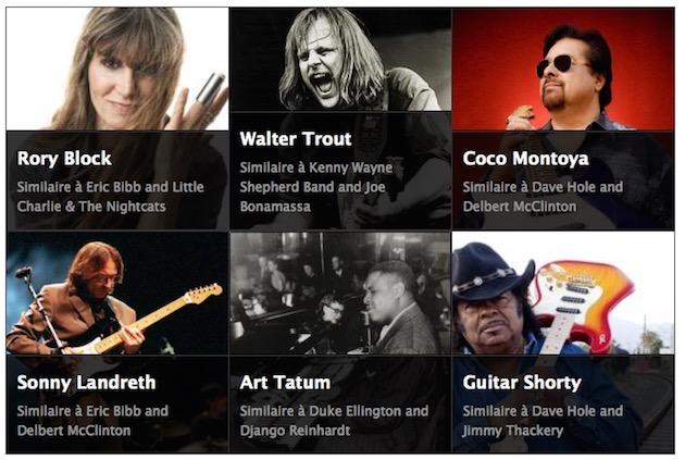 Mes suggestions Last.fm, qui ne dispose que de mes deux dernières années d'écoute. J'ai déjà écouté Art Tatum et Guitare Shorty, mais j'ignorais l'existence de Walter Trout avant d'écrire cet article. En voilà, de la découverte ! Remarquez, je suppose que linsistance dApple Music à me proposer des listes des rares genres que je nécoute pas est une manière de mouvrir à de nouveaux horizons.