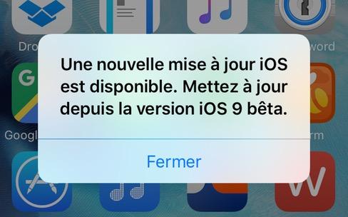 Une fausse alerte pour une mise à jour d'iOS9
