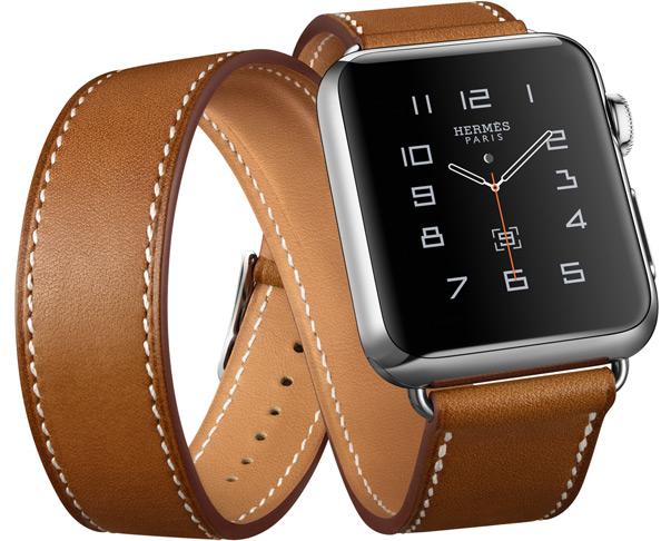 L'Apple Watch Hermès avec un bracelet double tour.
