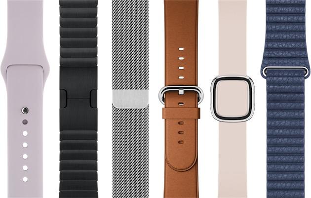 De gauche à droite : un bracelet Sport dans un nouveau coloris pastel, le bracelet à maillons noir désormais disponible à l'unité, le bracelet à maille milanaise, le nouveau coloris du bracelet à boucle classique, le bracelet boucle moderne et le bracelet en cuir.
