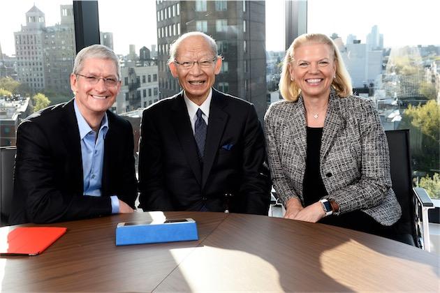 Tim Cook, Taizo Nishimuro le patron de Japan Post Group et Ginni Moretti la patronne d'IBM.