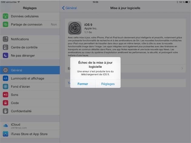 En cas d'erreur, essayez de mettre à jour avec iTunes plutôt qu'over the air. iTunes qui est lui aussi mis à jour, pour pleinement prendre en charge iOS 9 justement.