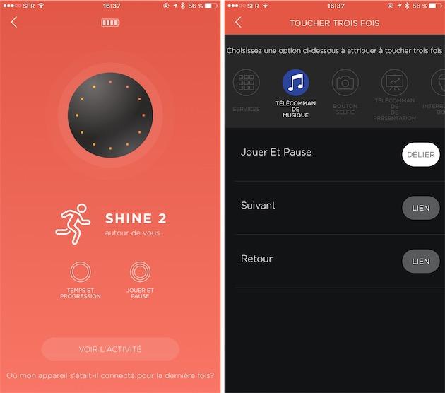 Le Shine2 peut fonctionner comme télécommande domotique. Ici, on met en pause et on relance la lecture sur l'iPhone, mais on peut aller beaucoup plus loin si on le souhaite.