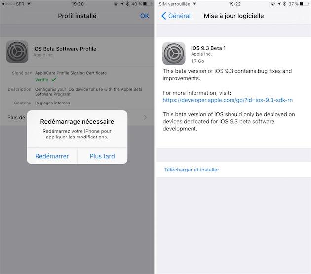 Après installation du profil, il faut encore redémarrer l'appareil iOS. On peut ensuite chercher les mises à jour dans les Réglages.