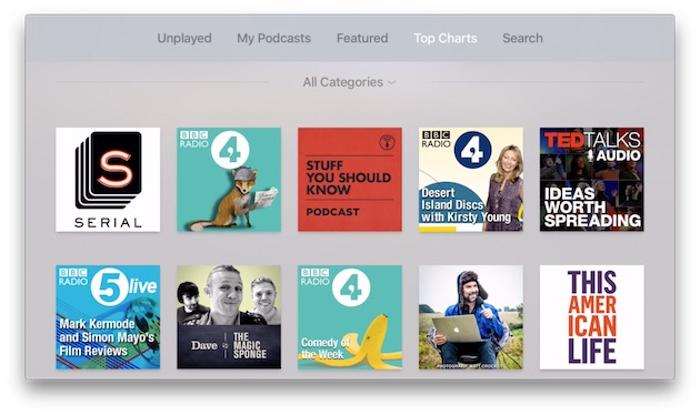 Application Podcasts sur tvOS 9.2
