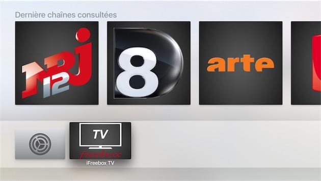 Depuis l'écran d'accueil de l'Apple TV, on retrouve les dernières chaînes consultées et on peut les afficher d'un clic.