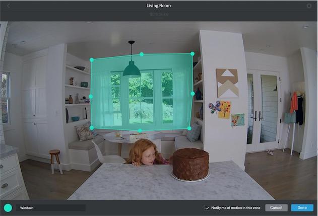 La création d'une zone, ici pour ignorer le mouvement des arbres dans le cadre d'une fenêtre. Il faut malheureusement utiliser le site de Nest, qui requiert Flash, pour créer ces zones. Image Nest.