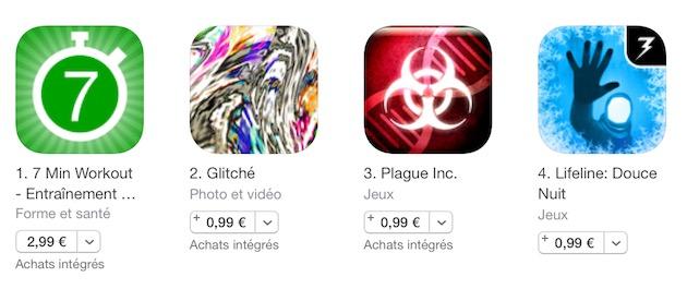 Les prix sur l'App Store sont tous en «,99€» depuis la dernière augmentation, en janvier 2015.