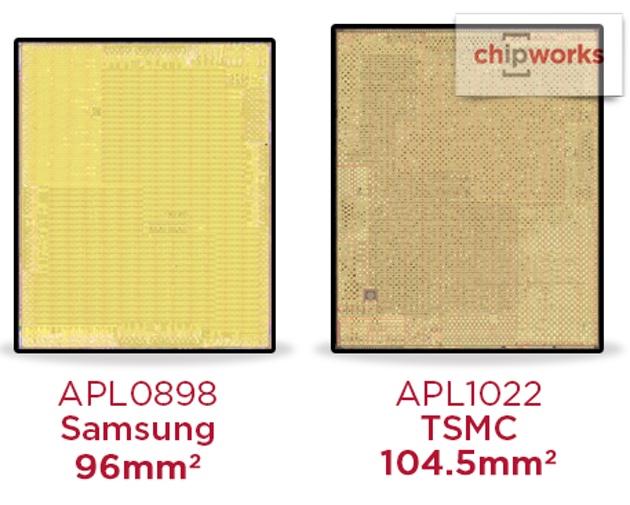 L'Apple A9 produit par Samsung est plus petit que celui de TSMC… mais il chauffe et surtout il consomme moins.