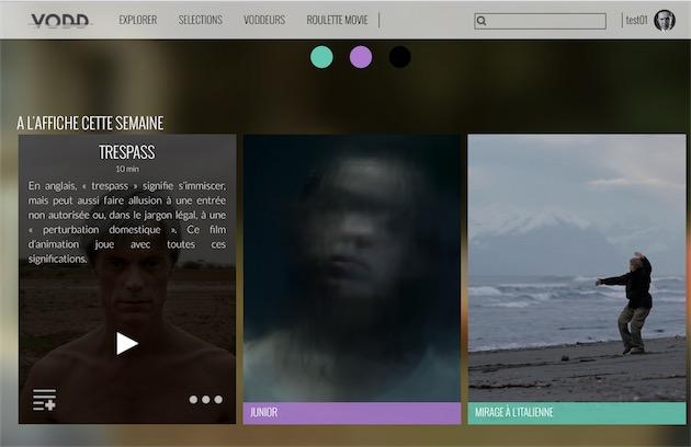 Page d'accueil de VODD, avec les trois œuvres mises en avant. Cette sélection changera chaque semaine. Notez le jeu des codes couleur, pour différencier la difficulté de chaque proposition.