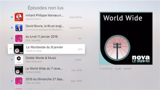 L'application Podcast sur tvOS9.2