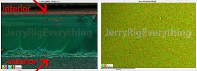 À gauche, une coupe du cristal de saphir utilisé par Apple sur ses iPhone avec au milieu, l'une des rayures appliquées dans la vidéo; à droite, le cristal de saphir de la montre Tissot. Cliquer pour agrandir