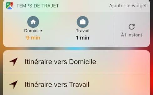 Google Maps ajoute un widget pour iOS10