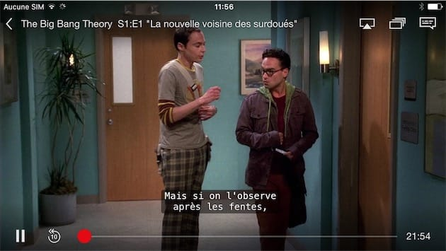 Capture d'écran d'une série regardée avec Netflix sur iOS9.