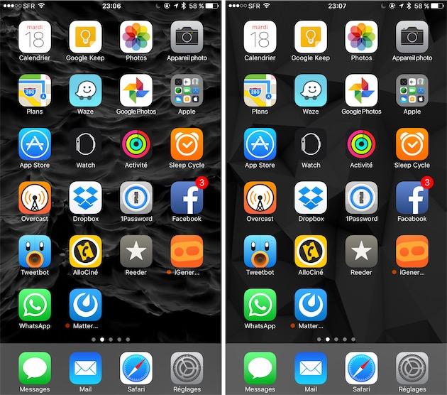 Deux fonds d'écran sur un iPhone 5,5pouces. Cliquer pour agrandir