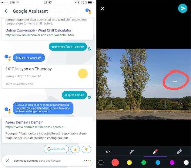 Deux nouveautés de cette version: on peut échanger vocalement avec Google Assistant et ajouter des annotations aux images.