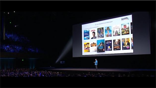 Molotov.tv pendant un keynote Apple: cette app propose déjà de rassembler tous les programmes TV français en une seule interface.