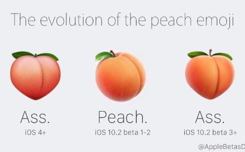 Finalement, Apple conserve le véritable emoji pêche dans iOS10.2