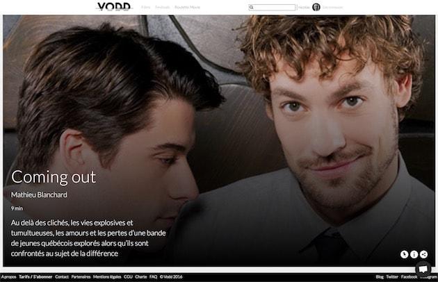 La page d'accueil de VODD