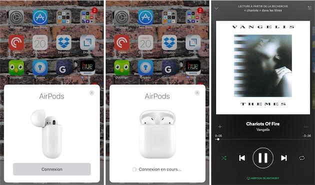 À l'ouverture du boitier, un panneau apparait automatiquement à l'écran de votre appareil iOS. Appuyez sur Connexion, et les AirPods seront appairés. Vous pourrez alors commencer à les utiliser sur cet appareil, mais aussi sur tous les appareils connectés au même compte iCloud.